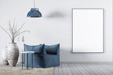Mock up poster in living room whit fabric blue armchair, a coffee table and big vase.