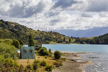 Huts at Lago General Carrera, Patagonia, Aysen Region, Chile