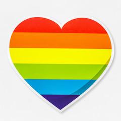 LGBT heart shaped rainbow icon isolated