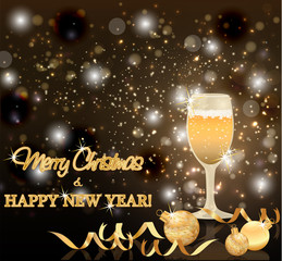 Merry Christmas and New Year card, vector illustration