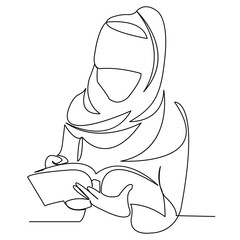 Muslim girl student reading