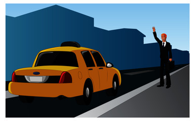 Vector illustration of a successful blond businessman hailing a taxi.