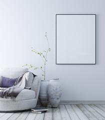 Mock up poster with pastel scandinavian minimalist interior background.