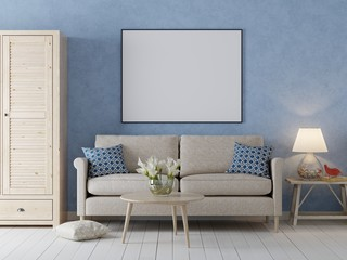 mock up poster frame in interior background, Scandinavian style with sofa and cabinet.