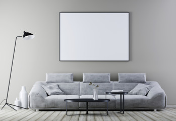 Mock up poster frame in modern vintage interior ,living room with white leather sofa.