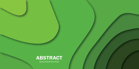 Abstract papercut background in green colors - Illustration