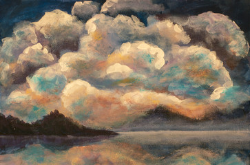 Warm multicolored clouds over dark mountains - sunset dawn over the lake, water, river - painting on canvas