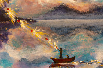 Witch girl woman with a cat in a boat on the river sea water mountains with beautiful clouds, a magical ritual of love in a wonderland. Painting Fantastic illustration fairy tale book.