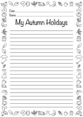 .Autumn worksheet. Vector illustration. Printable page.