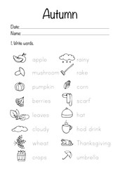 .Autumn worksheet. Vector illustration. Printable page.