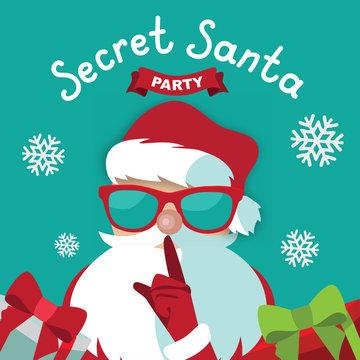 Secret Santa party template design on a blue background