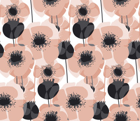 Pastel pink poppy floral seamless pattern