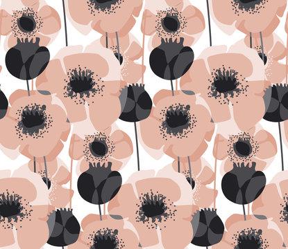 Pastel pink poppy floral seamless pattern