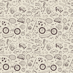 Seamless pattern from sport equipment in doodle style. Vector illustration. Hand drawn sport accessories on vintage background.