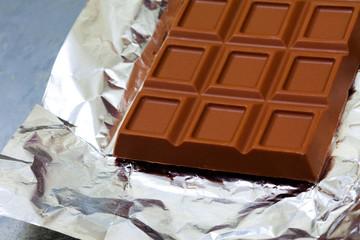 fragment of milk chocolate bar