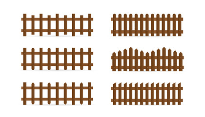 Vector set of different shapes rural wooden fences. Isolated detailed elements for garden illustration design