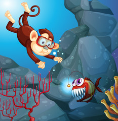 A monkey diving in the ocean