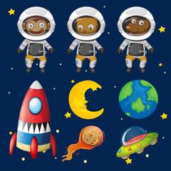 Set of space animals element