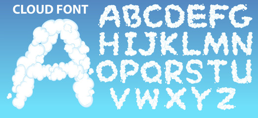 Poster Kids Cloud english alphabet font