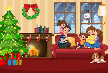 A happy family in the house on christmas