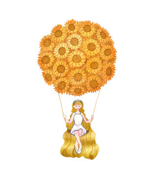 Girl sitting on Swing under Sunflower Balloon Watercolor.