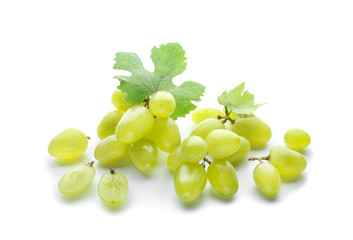Fresh ripe grapes on white background
