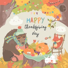 Cute animals celebrating Thanksgiving day in the forest
