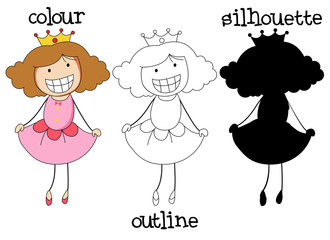 Different graphic style of doodle princes