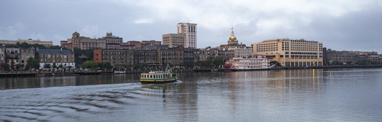 An Empty Ferry Boat Moves on Schedule Crossing the River in Savannah Georgia