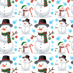 Christmas snowman seamless pattern