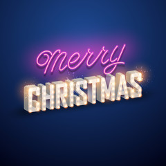 Christmas background. Retro Christmas light sign. Vector illustration.