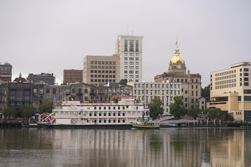 The Savannah River splits the city of the same name between downtown and the convention center