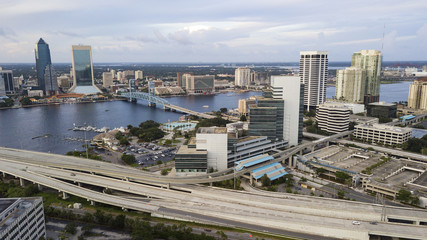 Aerial View Over Highways Downtown City Jacksonville Florida