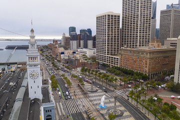 Aerial View Over Ferry Marketplace Downtown City Center Waterfront San Francisco California