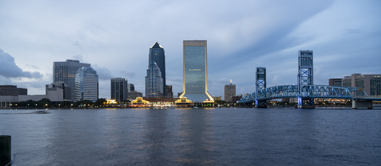 Blue Color Dominates this View of Downtown City Skyline Jacksonville Florida