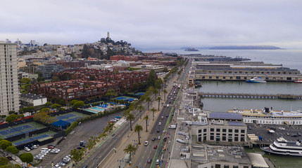 Aerial View Over San Francisco Waterfront With Coit Tower