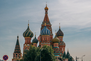 Domes of St. Basil Cathedral on Red Square, Moscow