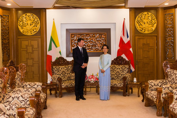 Britain's Foreign Secretary Jeremy Hunt visits Myanmar leader Aung San Suu Kyi in Naypyidaw