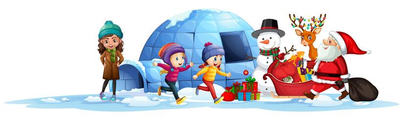 Happy children receive present from santa