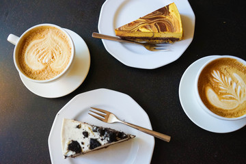 Cake And Coffee On Black Table
