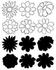 A set of doodle and silhouette flowers