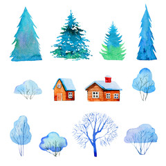 Set with isolated winter trees, houses and firs. Hand drawn cartoon watercolor illustration