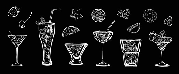 Outline sketch hand drawn illustration with different cocktails and fruits on blackboard background