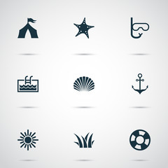 Summer icons set with sun, swimming mask, shell and other camp