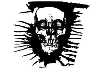 Black and white hand drawn illustration of criminal human skull.