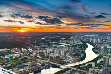 Panoramic view of Moscow. Evening, sunset.