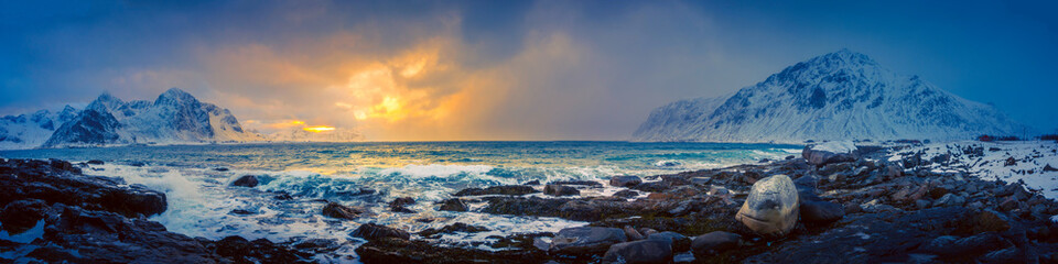 Mountains on a coastal landscape in northern Norway Wall mural