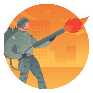 Army man with flame thrower