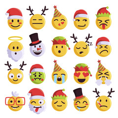 Christmas emoji funny and cute holiday set