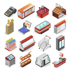 Supermarket equipment and interior business design set